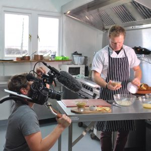 Andy filming for a TV show on entomophagy